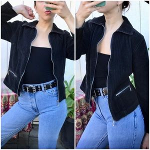 Vintage 90s does 70s corduroy zip up crop jacket